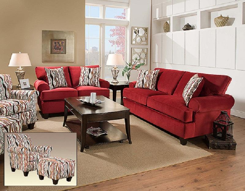 Corinthian 47b Jackpot Red Sofa Loveseat