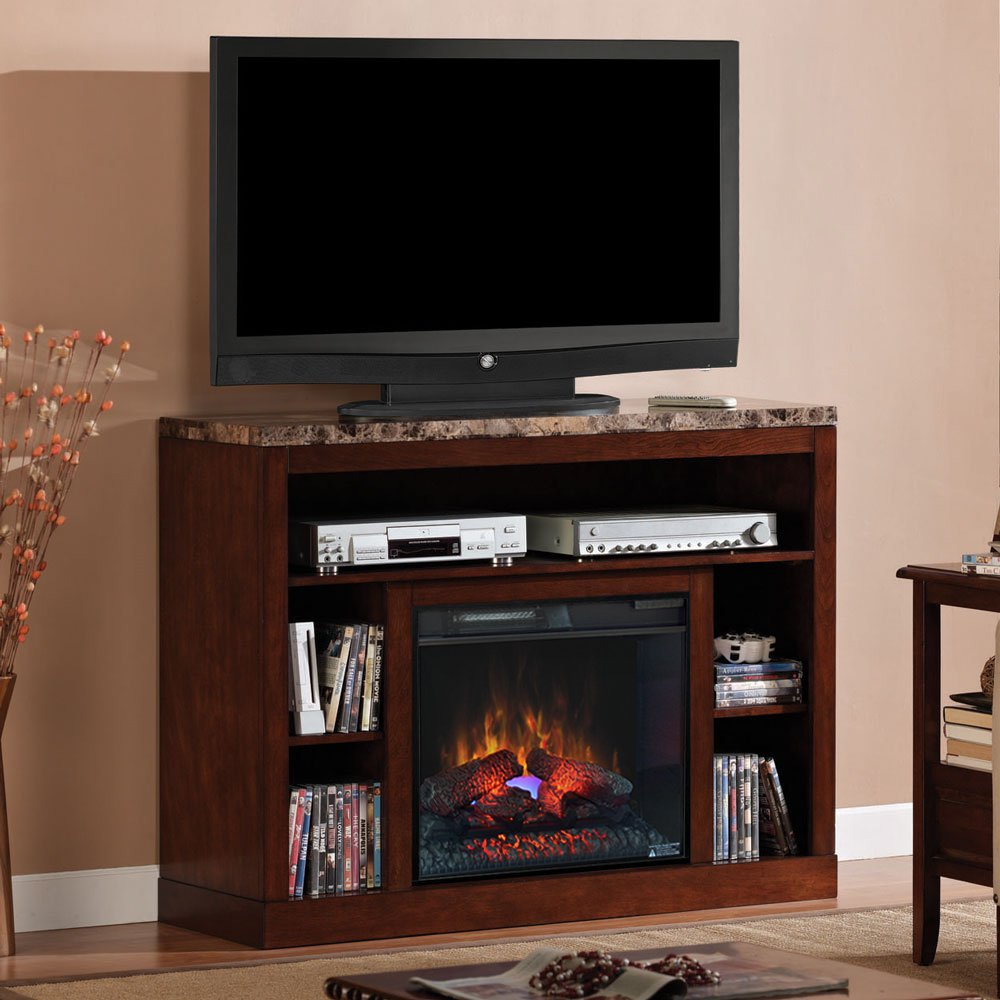 Sarah Check Hearth Cabinet: Adams Cherry Entertainment Fireplace 23MM1824-C244