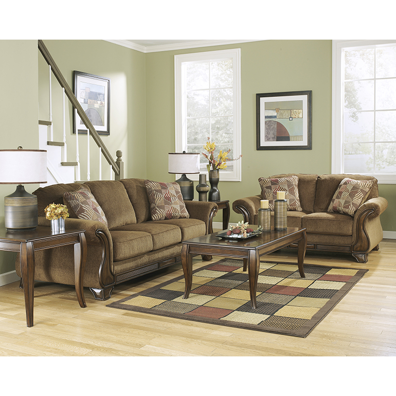 Classic Traditional Living Room Furniture: Ashley 38300 Montgomery Mocha Sofa & Loveseat
