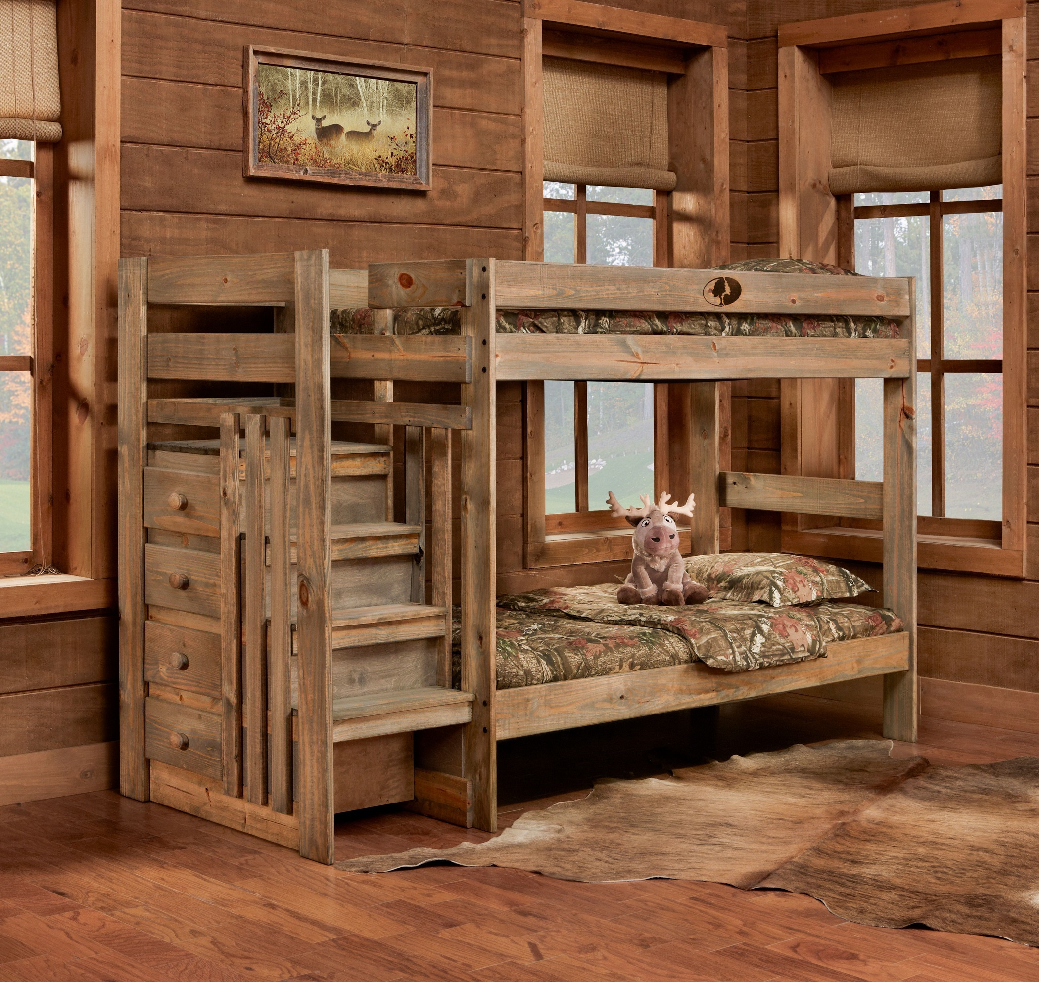 Simply Bunk Beds 5989 2pc Mossy Oak Twin Twin Stairstep Bunkbed